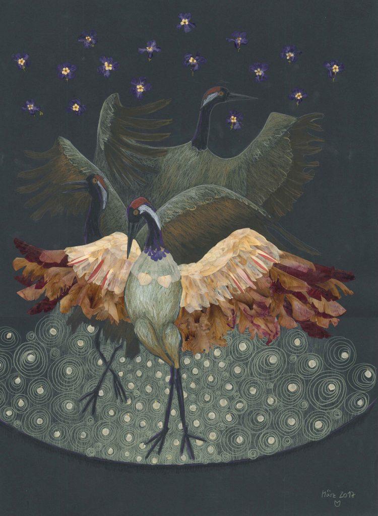 Tanzende Kraniche, Blütenbild mit Buntstift, Ornamente