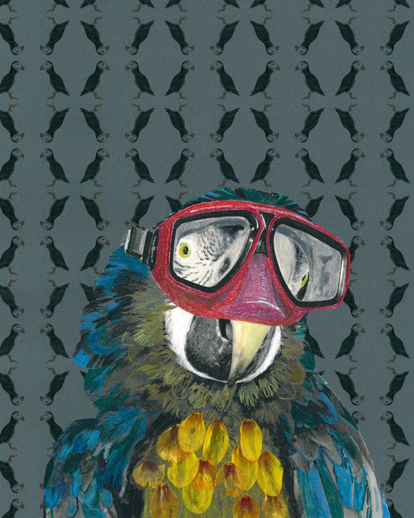 Ein Papagei mit Taucherbrille, die Federn sind aus gepressten Blüten, colorierte Kopie