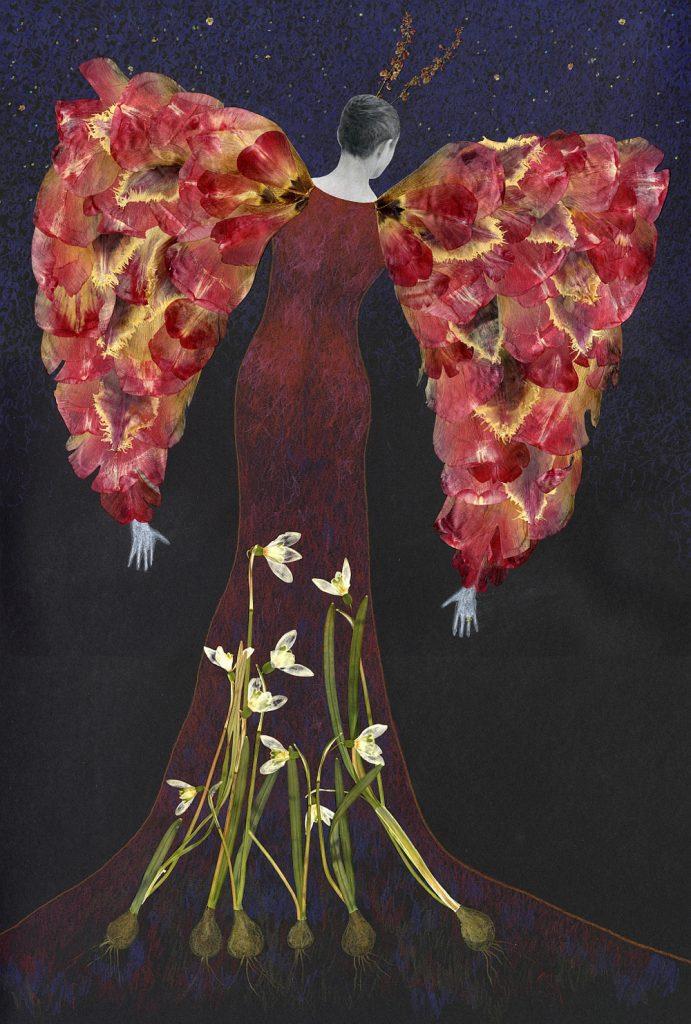 Eine Frau mit Flügeln, aber verwurzelt in der Erde, Blütenbildmit Tulpen und Schneeglöckchen